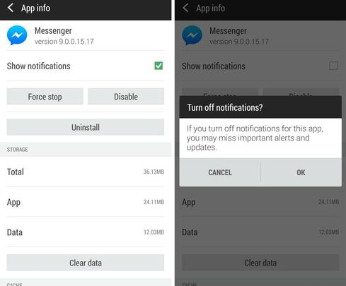 How to switch off notification alerts on the Android Facebook Messenger app